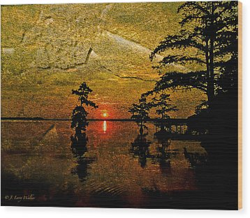 Sunrise And Cypress Abstract Wood Print by J Larry Walker