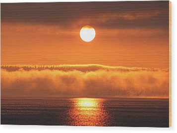 Wood Print featuring the photograph Sunrise And Fog by E Faithe Lester