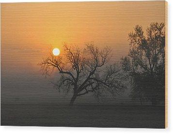 Sunrise And Fog Wood Print