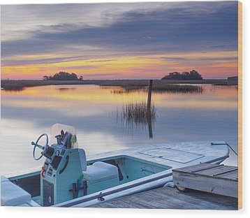Sunrise Art Photograph - Hells Bay Marquesa Boat By Jo Ann Tomaselli Wood Print