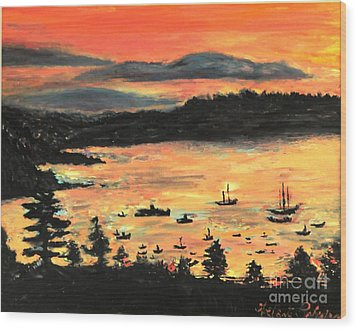 Wood Print featuring the painting Sunrise At Bar Harbor Maine by Helena Bebirian