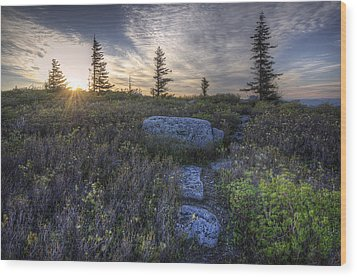 Sunrise At Bear Rocks Wood Print by Michael Donahue