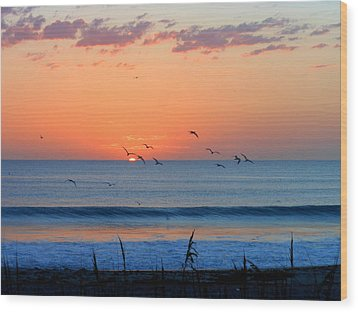 Wood Print featuring the photograph Sunrise At Indialantic by Kay Gilley