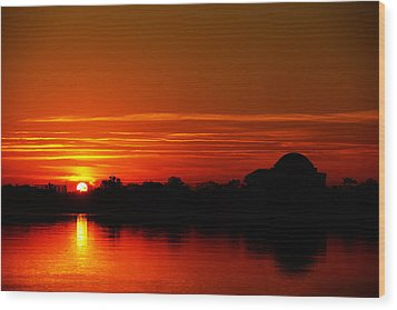 Sunrise At Jefferson Memorial Wood Print by Metro DC Photography