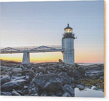 Sunrise At Marshall Point Lighthouse Wood Print