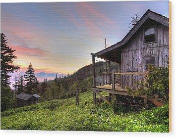 Sunrise At Mt Leconte Wood Print by Debra and Dave Vanderlaan