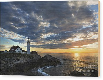 Sunrise At Portland Head Light Wood Print