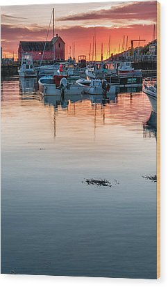 Sunrise At Rockport Harbor - Cape Ann Wood Print by Thomas Schoeller