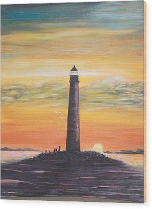 Sunrise At Sand Island Lighthouse Wood Print