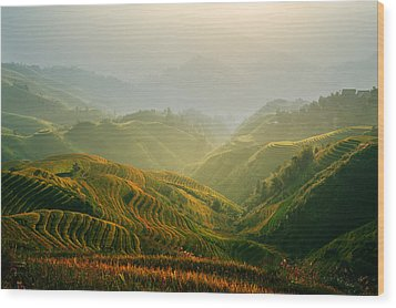 Sunrise At Terrace In Guangxi China 3 Wood Print