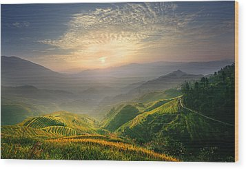 Sunrise At Terrace In Guangxi China 5 Wood Print