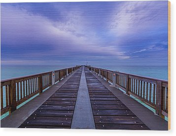 Sunrise At The Panama City Beach Pier Wood Print