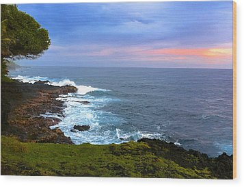 Sunrise At The Point Hawaii Wood Print by Venetia Featherstone-Witty