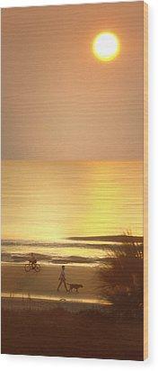 Sunrise At Topsail Island Panoramic Wood Print by Mike McGlothlen