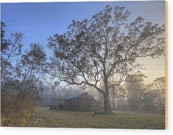 Sunrise Barn Wood Print by Steve Caldwell