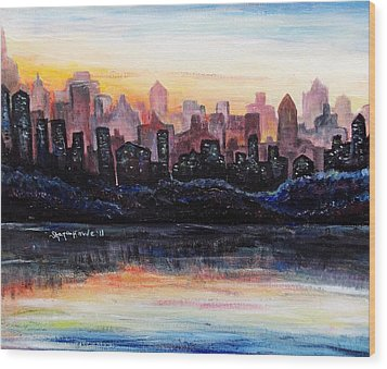 Wood Print featuring the painting Sunrise City by Shana Rowe Jackson