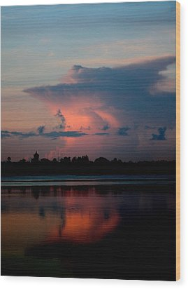 Sunrise Cloud Reflection Wood Print