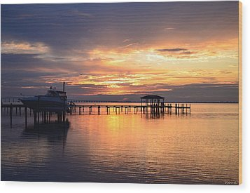 Wood Print featuring the photograph Sunrise Colors On The Sound by Jeff at JSJ Photography