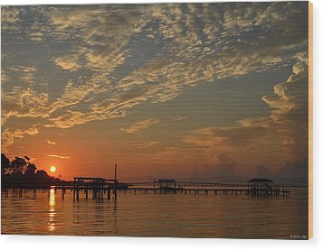 Sunrise Colors With Storms Building On Sound Wood Print by Jeff at JSJ Photography