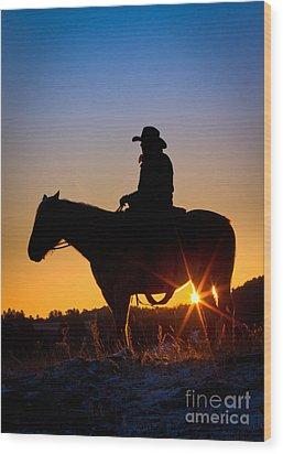 Sunrise Cowboy Wood Print by Inge Johnsson