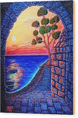 Sunrise Custle Wood Print by Viktor Lazarev