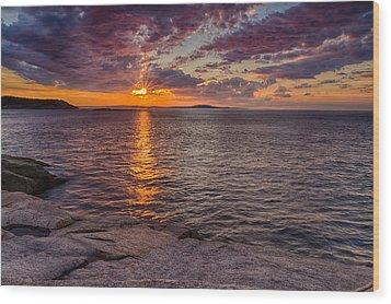 Sunrise Drama Acadia National Park Wood Print by Jeff Sinon