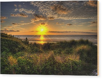 Sunrise Dune Wood Print by Greg and Chrystal Mimbs