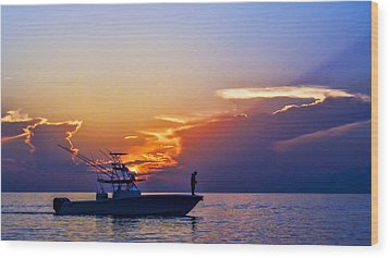 Sunrise Fishing Wood Print by Don Durfee