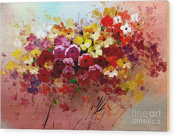 Sunrise Flowers - Abstract Oil Painting Original Modern Contemporary Art House Wall Deco Wood Print by Emma Lambert