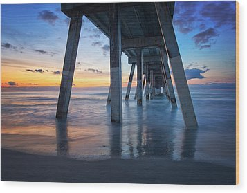 Sunrise From Under Johnnie Mercer's Pier Wrightsville Beach Nc Wood Print