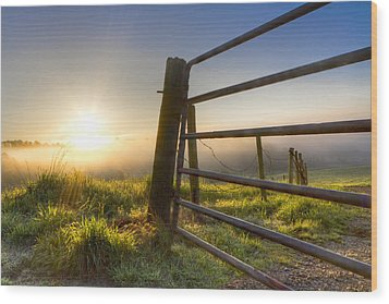 Sunrise  Gate Wood Print by Debra and Dave Vanderlaan