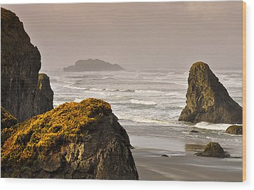 Wood Print featuring the photograph Sunrise Gold And Surf by Kevin Munro