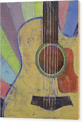 Sunrise Guitar Wood Print by Michael Creese