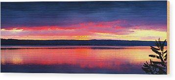 Sunrise In Cayuga Lake Ithaca New York Panoramic Photography Wood Print by Paul Ge
