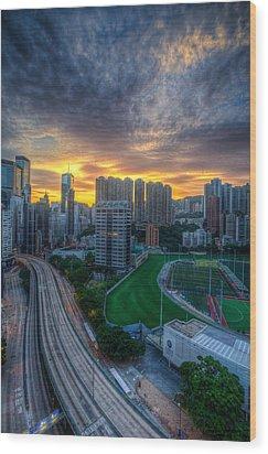 Sunrise In Hong Kong Wood Print by Mike Lee
