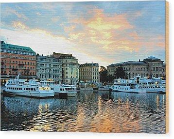 Sunrise In Stockholm Wood Print by Jenny Hudson