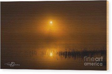 Sunrise In The Fog Wood Print