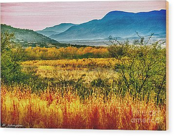 Sunrise In Verde Valley Arizona Wood Print by Bob and Nadine Johnston