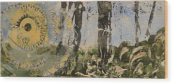 Sunrise In Woods Wood Print by Valerie Lynch