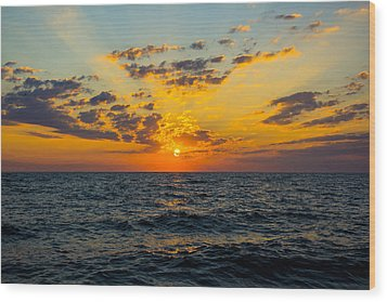 Sunrise Lake Michigan August 10th 2013 001 Wood Print by Michael  Bennett