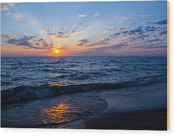Wood Print featuring the photograph Sunrise Lake Michigan August 10th 2013 002 by Michael  Bennett