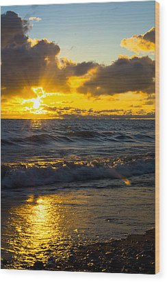 Wood Print featuring the photograph Sunrise Lake Michigan August 30th 2013 001  by Michael  Bennett