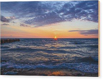 Sunrise Lake Michigan August 8th 2013 001 Wood Print by Michael  Bennett