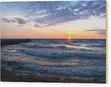 Wood Print featuring the photograph Sunrise Lake Michigan August 8th 2013 003 by Michael  Bennett