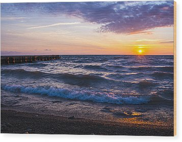 Wood Print featuring the photograph Sunrise Lake Michigan August 8th 2013 004 by Michael  Bennett
