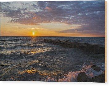 Sunrise Lake Michigan August 8th 2013 005 Wood Print by Michael  Bennett