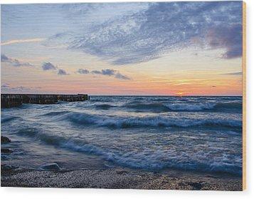 Sunrise Lake Michigan August 8th 2013  Wood Print by Michael  Bennett