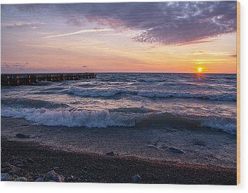 Wood Print featuring the photograph Sunrise Lake Michigan August 8th 2013 Wave Crash by Michael  Bennett