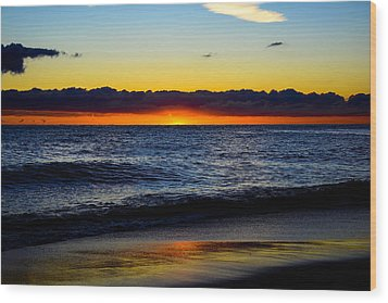 Wood Print featuring the photograph Sunrise Lake Michigan September 14th 2013 008 by Michael  Bennett