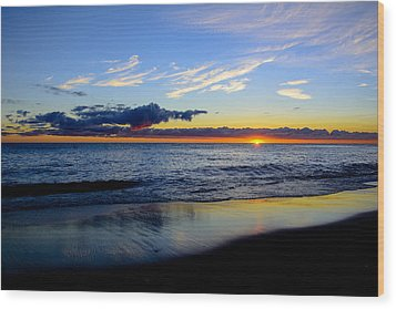 Wood Print featuring the photograph Sunrise Lake Michigan September 14th 2013 017 by Michael  Bennett